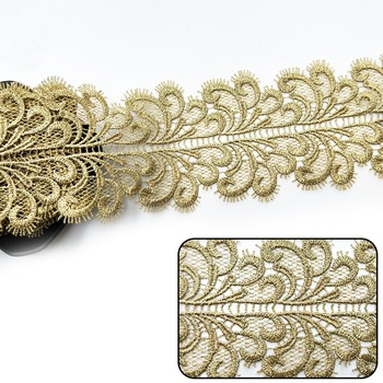 c56b70209c9f 2Yds Lot oro encaje 3D festoneado Floral Applique Trim suave flor adornos  de encaje bordado encaje vestido 9 cm