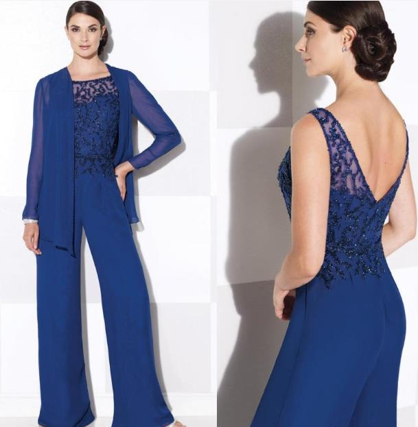 38f5161d524 Elegant Chiffon Mother of The Bride Pant Suits With Jacket Royal Blue Bride  Mother Groom Dresses For Beach Weddings Plus Size