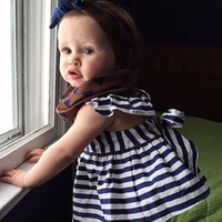 Newborn Baby Girls Clothes Infant Kids Summer Striped Dress Top Briefs 2pcs Outfit Toddler Kids Clothing Set