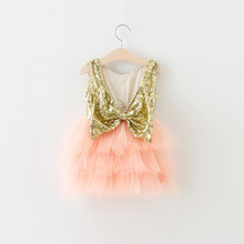 EMS DHL Free Shipping Little Girl's Holiday Lace Casual kids dress Princess Gold Violet Dress Sequin Tiers Tutu Dress 90-130