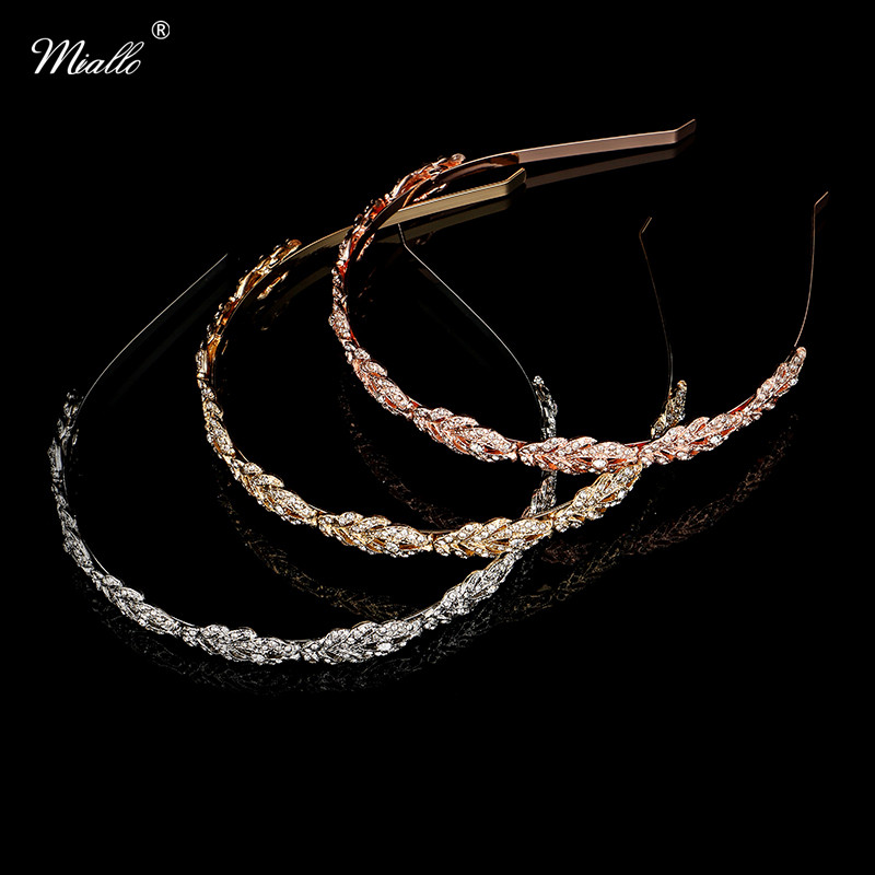 Miallo Women Crystal Rhinestone Hairband Flower Leaf Pattern Tiara Elegant Wedding Jewelry Hair Accessories Bride's Tiaras elegant artificial gem oval rhinestone leaf floral brooch for women
