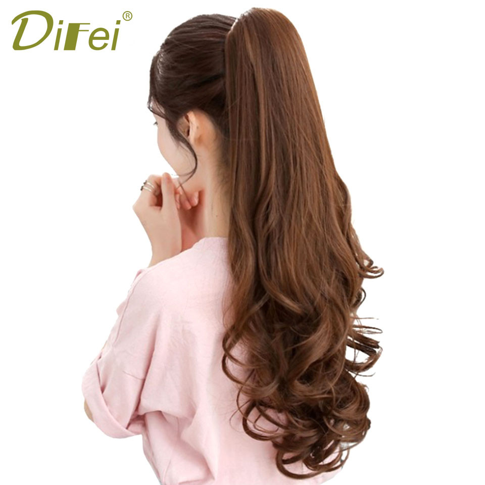 DIFEI Long Curly Ponytail Natural Brown Claw Hair Tail Hairpiece Heat Resistant Synthetic Hair For Women Hairstyles