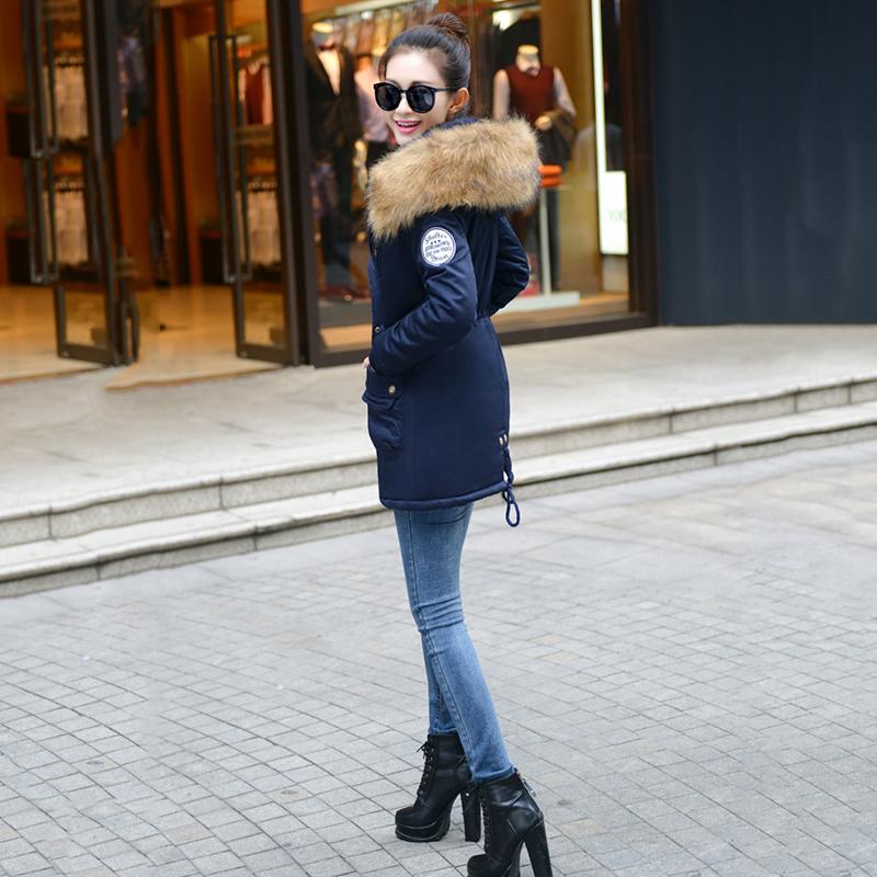 Adjustable Waist Women Parkas Big Pockets Fur Hooded Long Coats Female Outwear Cotton Warm Winter Ladies Jackets Coat MDEW541 4