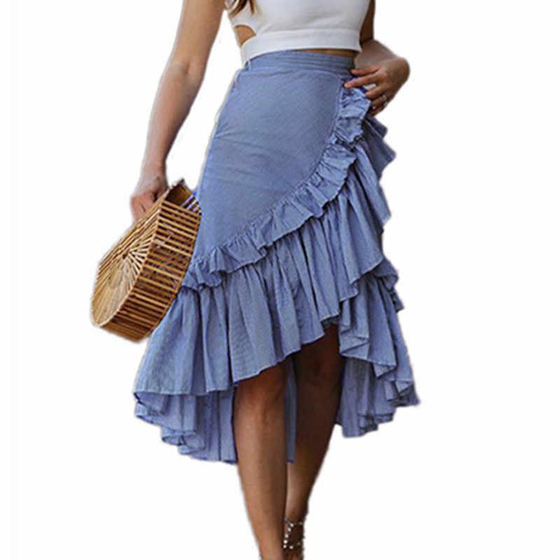 Damskie paski Ruffles trąbka spódnice lato Streetwear bawełna kobiet plisowana spódnica cwd0138-5