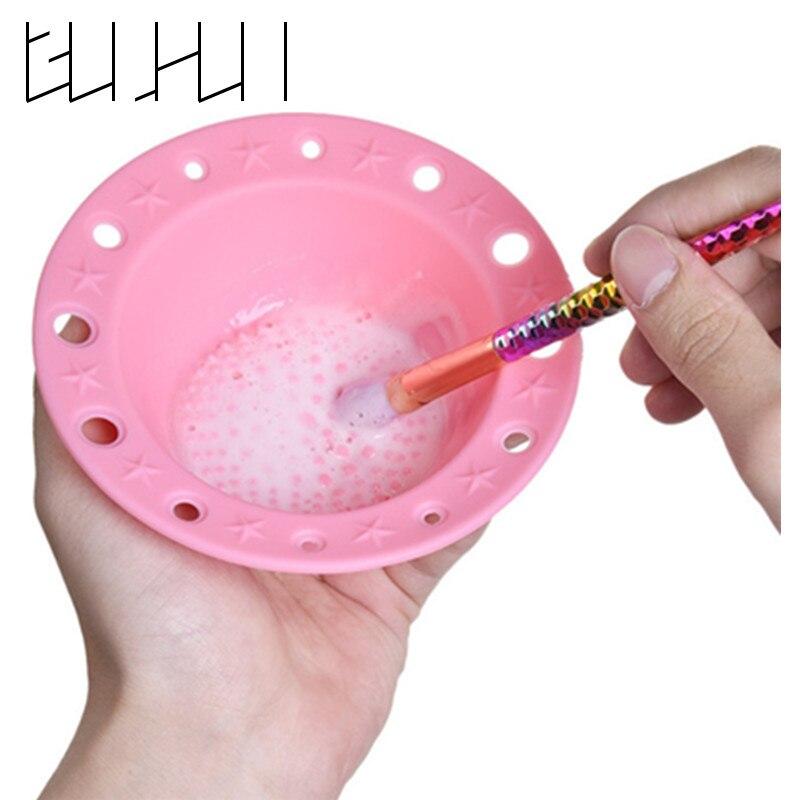 1Pcs Makeup Brush Holder Silicone Cleaning Mat Large Pad Foundation Scrub Brush Cleaner Washing Scrubber Nail Polish Wash Bowl makeup brush cleaning palette 2pcs