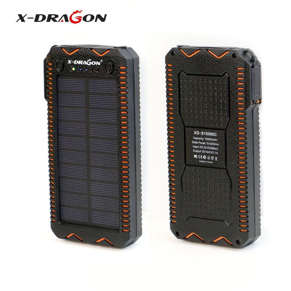 X-DRAGON Étanche batterie Portable solaire 15000 mAh Chargeur Solaire Portable avec Allume-cigare, SOS LED stroboscopique Éclairage.