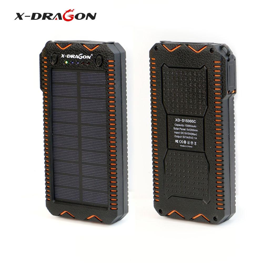 X-DRAGON Waterproof Solar Power Bank 15000 mAh Portable Solar Charger with Cigarette Lighter, SOS Strobe LED Lighting.