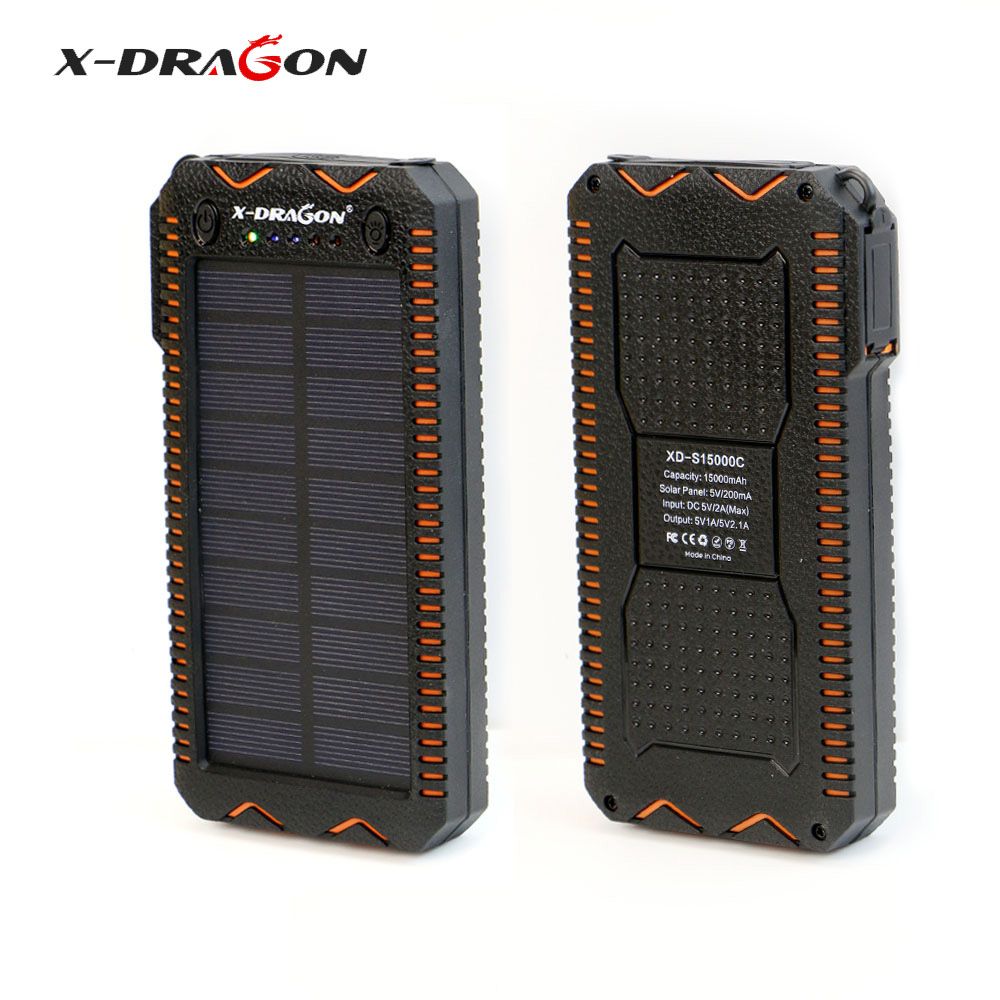 X-DRAGON Waterproof Solar Power Bank 15000 mAh Portable Solar Charger with Cigarette Lighter, SOS Strobe LED Lighting.