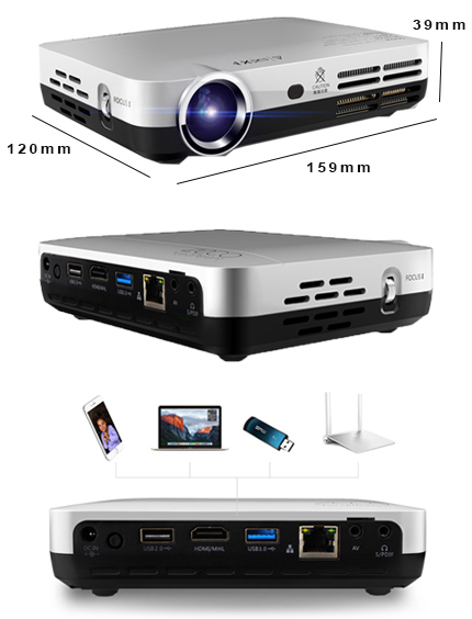 NIERBO Mini Projector Portable 2000 Lumens LED Full HD Android 1080p Home Theater HDMI 3d Projector