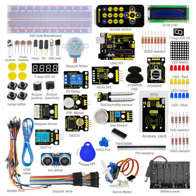 Free shipping! Keyestudio Super Starter Learning kit/Starter Kit(UNO R3) for arduino with 1602 LCD RFID+PDF