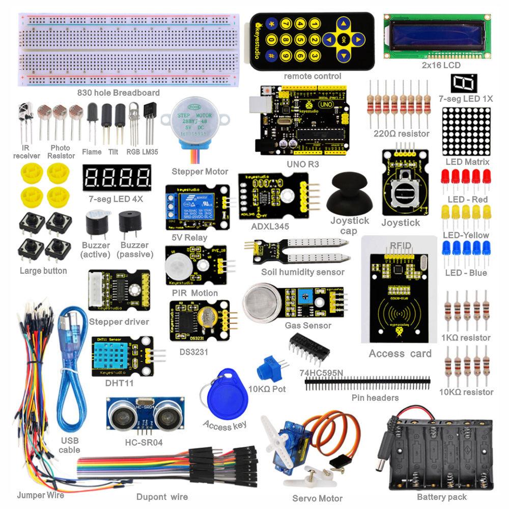 Free shipping Keyestudio Super Starter Learning kit Starter Kit UNO R3 for font b arduino b