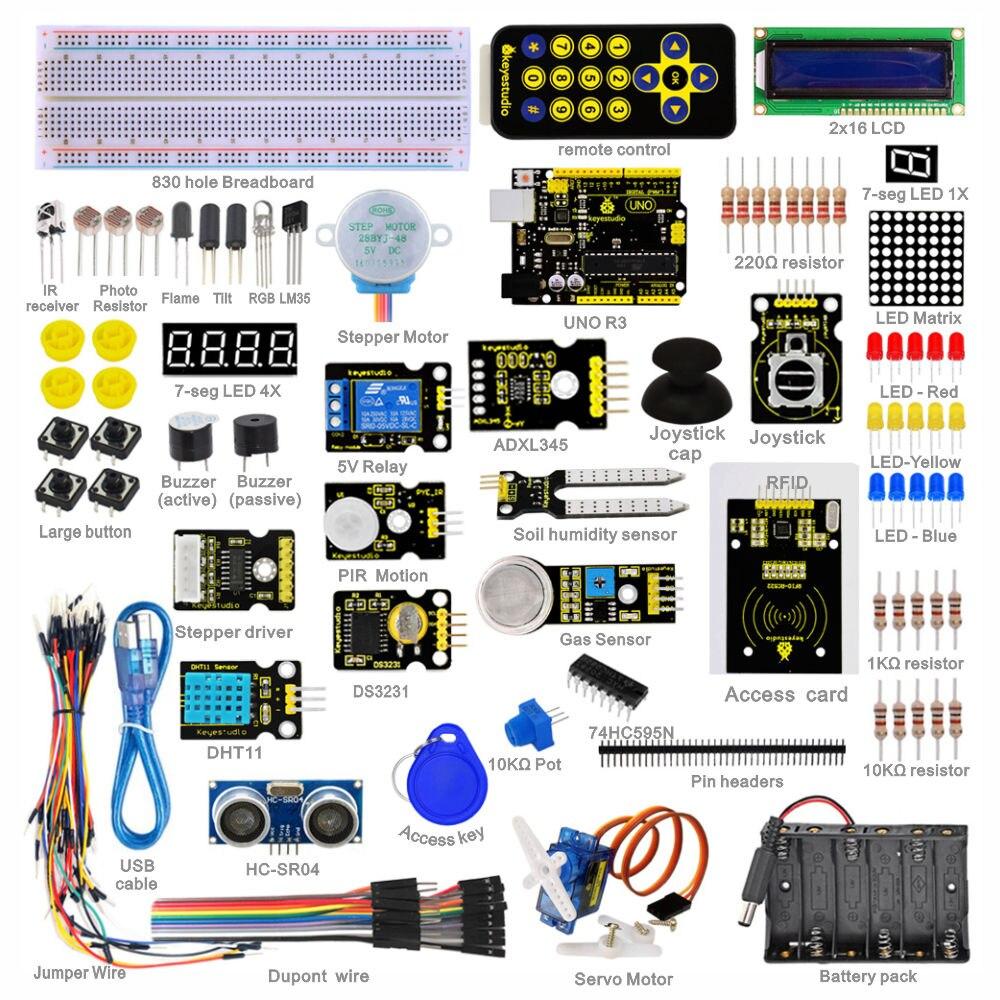 New Packing Keyestudio Super Starter Learning kit Starter Kit UNO R3 for arduino with 1602 LCD