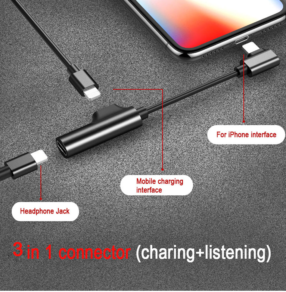 !ACCEZZ 2 3 IN 1 Dual Lighting Charging&Audio&Calling Headphone Adapter For iphone X 8 7 Plus Jack to Earphone AUX Splitter Cables (9)