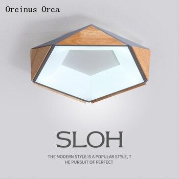 Nórdico moderno CONDUZIU a lâmpada do teto sala de estar quarto sala de jantar de madeira maciça personalidade criativa geometria cor da lâmpada do teto