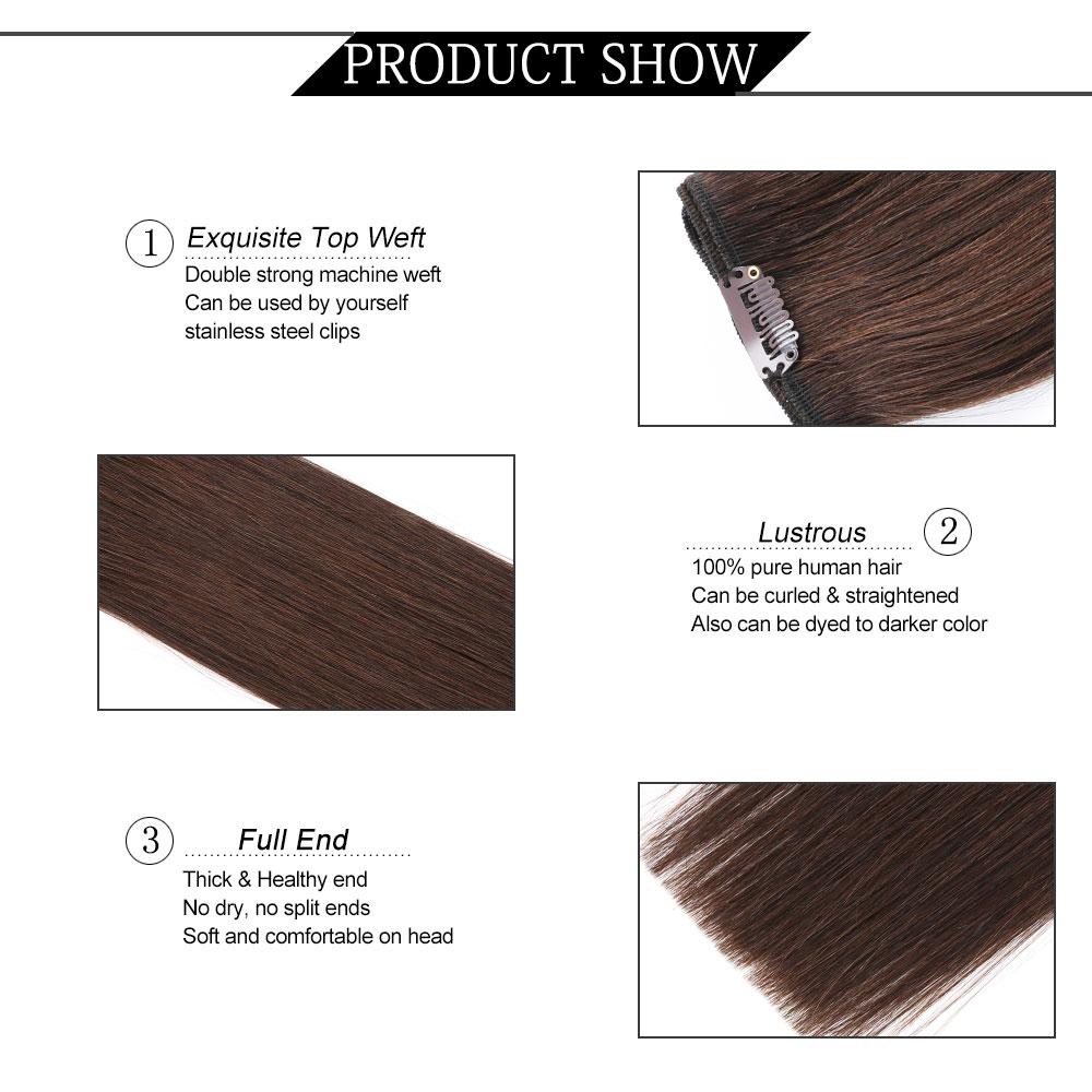 YILITE doble dibujado europeo remy cabello humano recto sedoso clip - Cabello humano (blanco) - foto 2