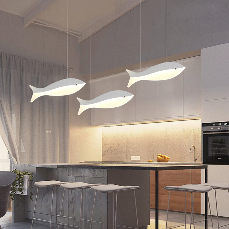 Modern LED Pendant Lights For Dining Kitchen Room Bar AC85-265V Home Indoor Fish Deco Hanging Pendant Lamp Fixtures dimmable pendant lights led crystal lighting hanging lamps indoor home light with remote control for hallway indoor home deco