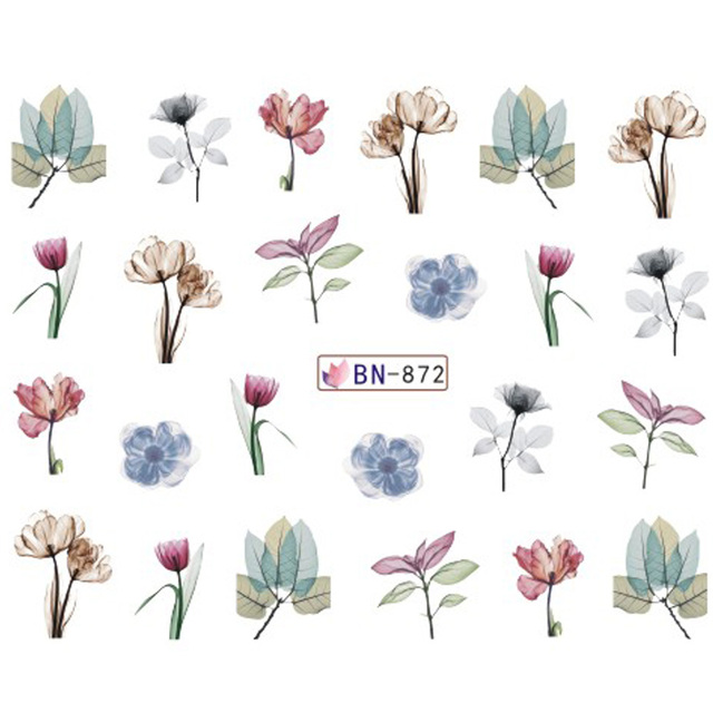 1pcs Daisy Lavender Flower Leaf DIY Nail Water Decal Stickers