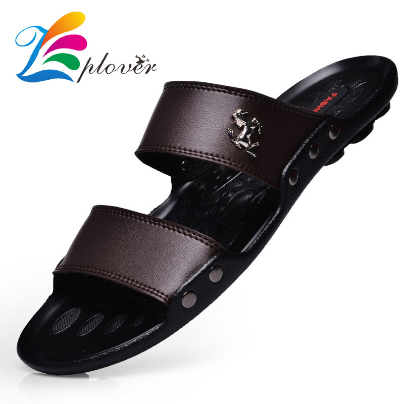 Casual Famous Brand 2018 Men Slippers Sandals Shoes Men Summer Flip Flops Beach Sandals Men Shoes Leather Sandalias Zapatos stainless steel exit button led light metal exit push button no nc com door exit switch door button for access control system