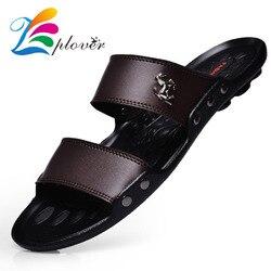 Marca 2018 Homens Chinelos Chinelos casuais Sandálias Sapatos Homens Verão Flip Flops Praia Sandálias Dos Homens Sapatos de Couro Zapatos Sandalias