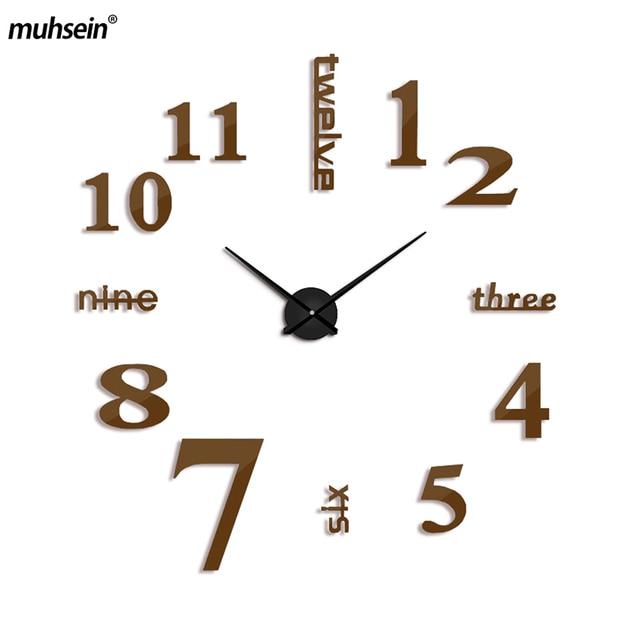 Attrayant 2017 Neue 3d Wanduhr Modern Design Große Diy Acryl Uhren Horloge Murale  Quarz Selbstklebende Wanduhr Kurze