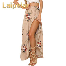 Women White Irregular Long Skirt 2018 Summer Boho Vintage Floral Print Side Slit Wrap Maxi Skirt Girl Waist Skirts Female plunge floral print side slit jumpsuit