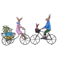 3 Pieces Family Rabbit Potted Ornaments Resin Animal With Bike Model Statue Figurine Micro Crafts Miniatures Home Garden Decor