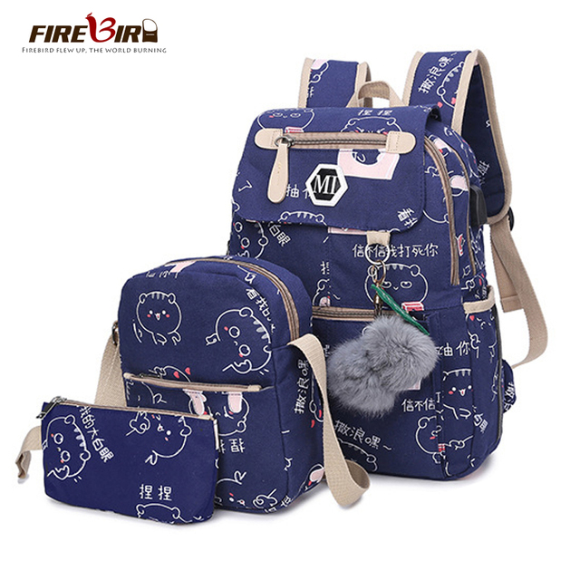 10a15423e881 2018 USB Charging Canvas Backpack 3 Pcs/set Women School Backpacks  Schoolbag For Teenagers Man Student Book Bag Boys Satchel-in Backpacks from  Luggage ...