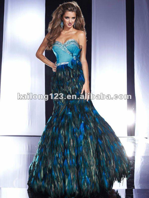 Sparkle Sweetheart Bow Beaded Mermaid Blue Feather Evening Dress