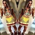 2015 новое лето женщины знаменитости пари платья клуб цветочный принт Dre свободного покроя мини-платье vestidos партии Большой размер
