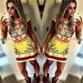 2015 New summer Women Celebrity Pary Dresses Sexy sexy club Floral Print Dre Casual mini Dress vestidos de fiesta plus size
