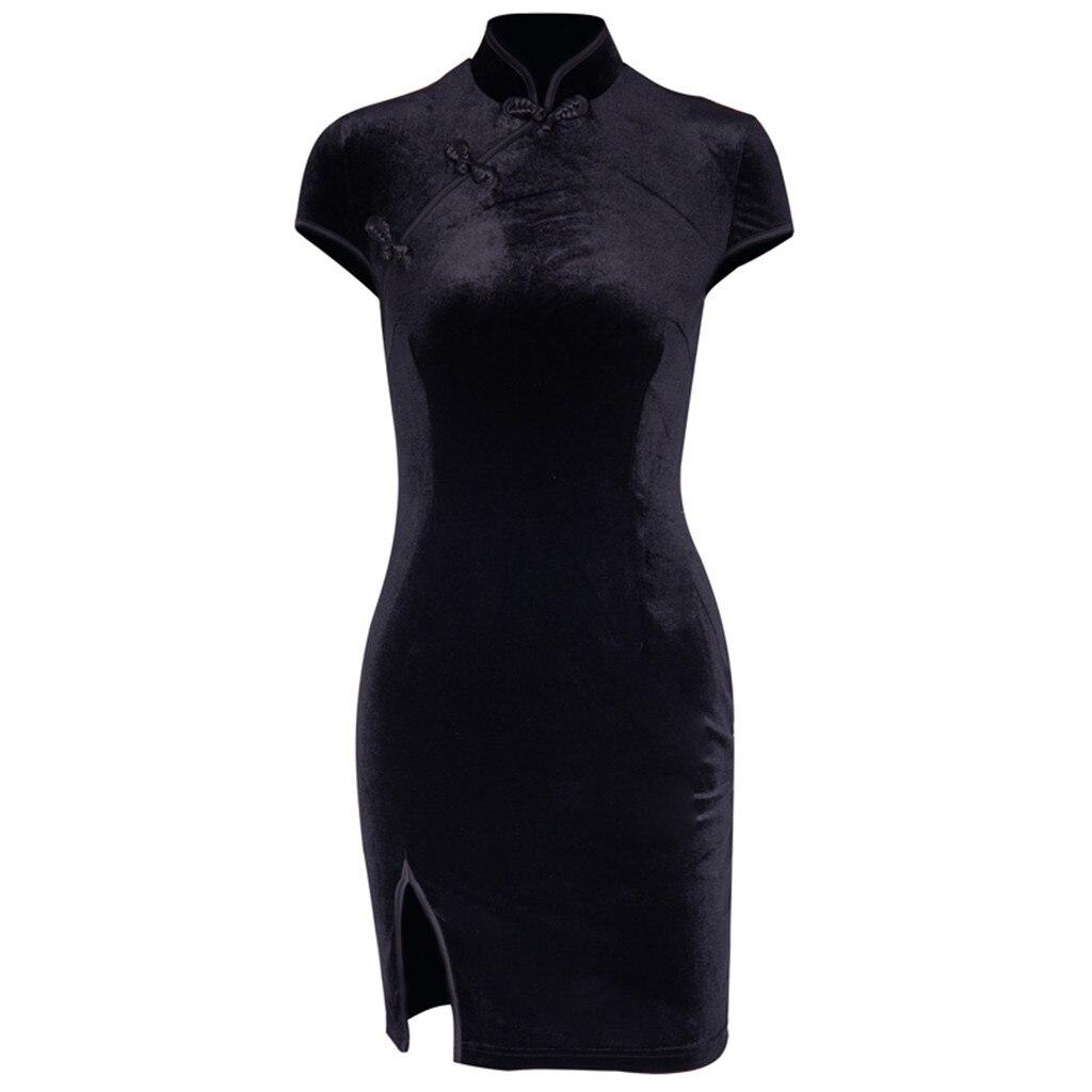 HTB1hVWgX.GF3KVjSZFoq6zmpFXaS Dress Women Gothic Punk Chinese Cheongsam Harajuku Slim Dress Vintage Split Dress Vestidos For Women d715