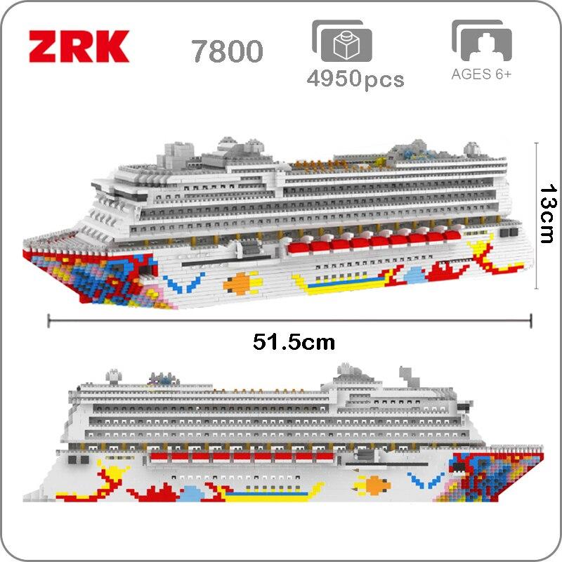 ZRK Luxury Cruise Liner Ship Big White Boat 3D Model DIY Diamond Mini Building Micro Nano