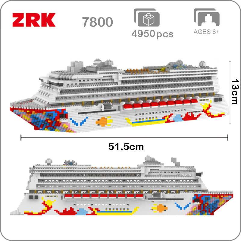 Zrk 럭셔리 크루즈 라이너 선박 큰 흰색 보트 3d 모델 diy 다이아몬드 미니 빌딩 마이크로 작은 블록 벽돌 조립 장난감 상자 없음-에서블록부터 완구 & 취미 의  그룹 1
