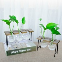 Vintage Style Glass Tabletop Plant Bonsai Flower Wedding Decorative Vase With Wooden Base Craft Tray Home Decoration Accessories