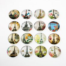 10pcs Mixed 30mm Round Tower Statue of Liberty Pattern Glass Patch Cover Cabochons Cameo Jewelry Findings