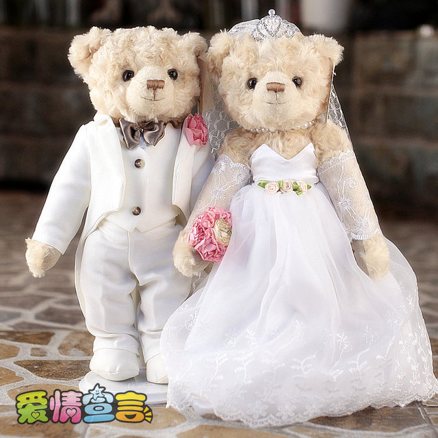 36CM High Quality 1Pair Genuine Teddy Bear Plush ToyStuffed Doll Wedding Dress Couple Wedding Gift  Birthday Valentine Gift