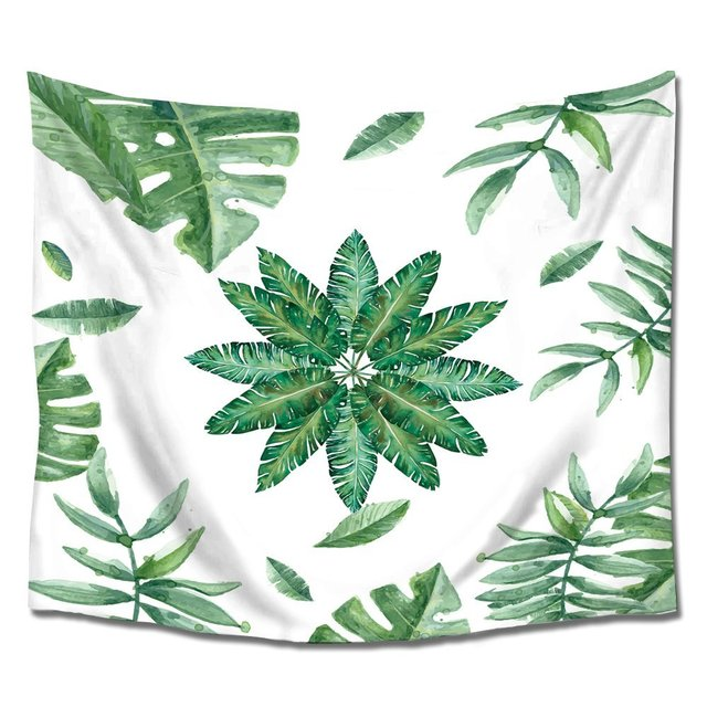 palm tree leaves pattern tapestry hanging wall art polyester fabric