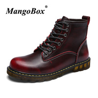 Working Safety Boots Red wine Mens Martens Boots High Top Mens Autumn Footwear Casual Men Shoes Top Quality Cow Leather Boots