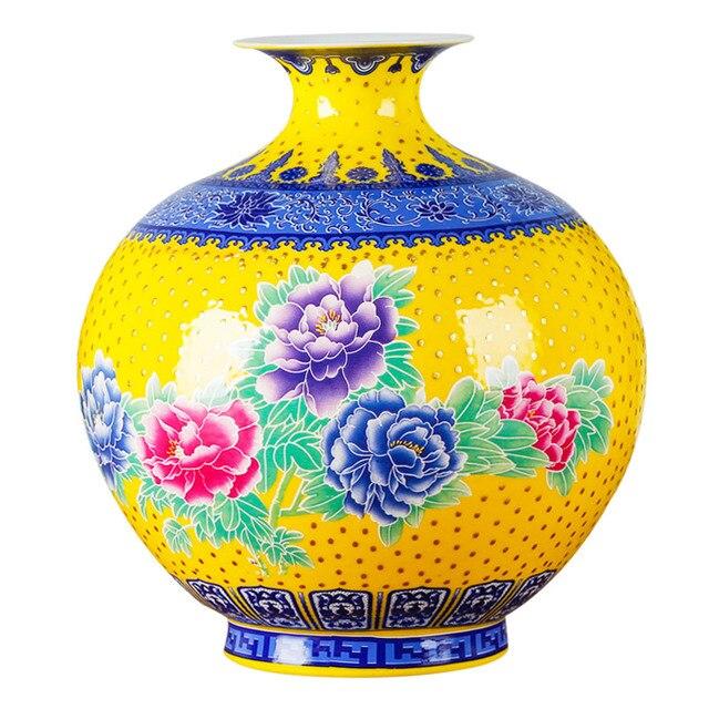 Jingdezhen Classical Pomegranate Vase Peony Porcelain Modern Vintage