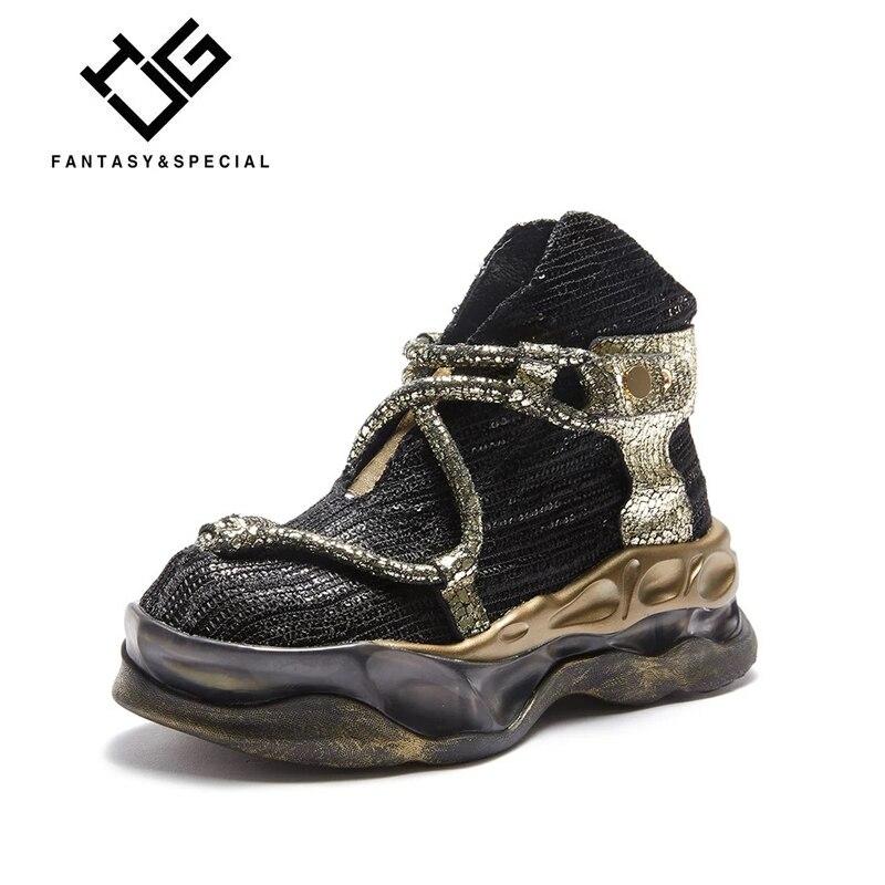 Zapatos de mujer IGU zapatos de cuero auténtico negro planos Harajuku Punk zapatos Creeper niñas zapatos de plataforma de calle alta gruesa femenina