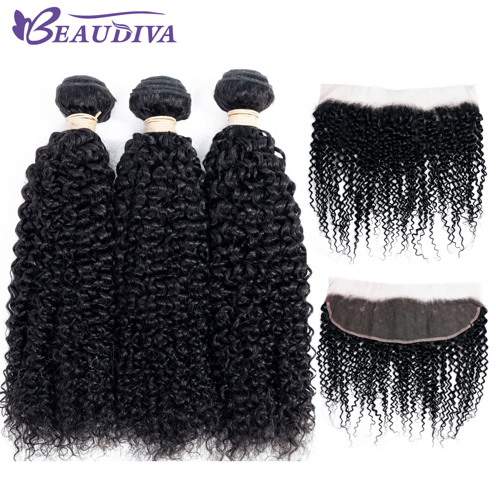 BEAUDIVA Pre-Colored Brazilian Kinky Curly Three Bundles With 13*4 Closure Human Hair Weave Non Remy Free Shipping