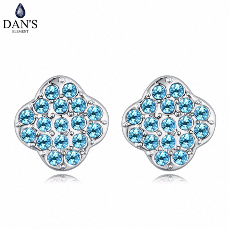 DANS 6 Colors Real Austrian crystals Stud earrings for women Earrings s New Sale Hot Round 128944