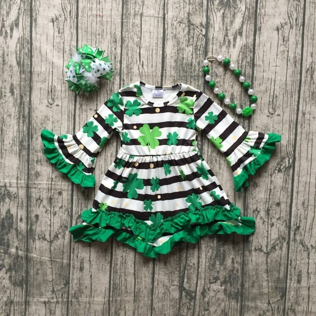 baby girls St Patrick outfits girls Shamrock dress clothing children St  Patrick day party dress milksilk dress with accessories be57efed3c27
