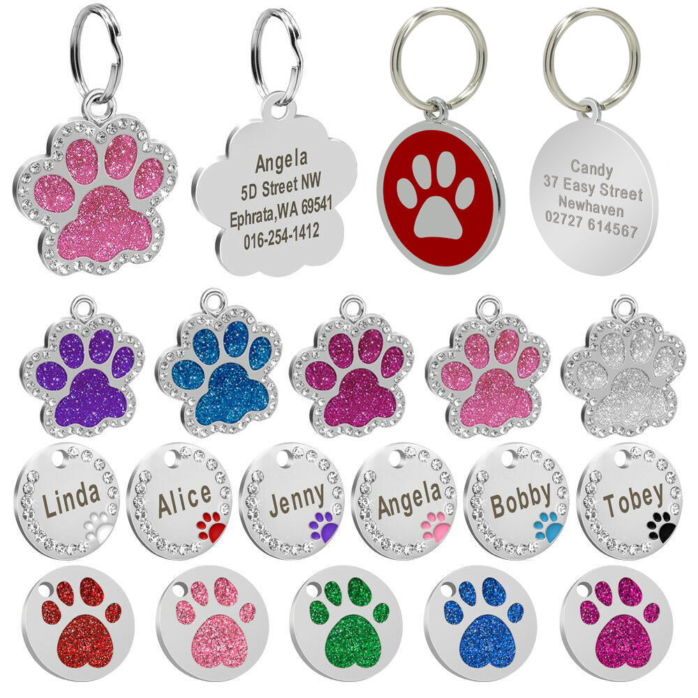 Custom Dog Tag Personalized Pet Dog Collar Accessories Engraved Cat Puppy ID Tag Stainless Steel Paw Nametag Pendant Anti-lost