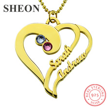 купить SHEON Authentic 925 Sterling Silver Birthstone Heart Necklace with Names for Lover Personalized Silver Jewelry Girlfriend Gift по цене 1747.58 рублей