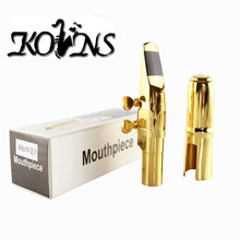 kolns Jazz Alto Sax Saxophone  Mouthpiece Metal with Mouthpiece Patches Pads Cushions Cap Buckle Gold Plating