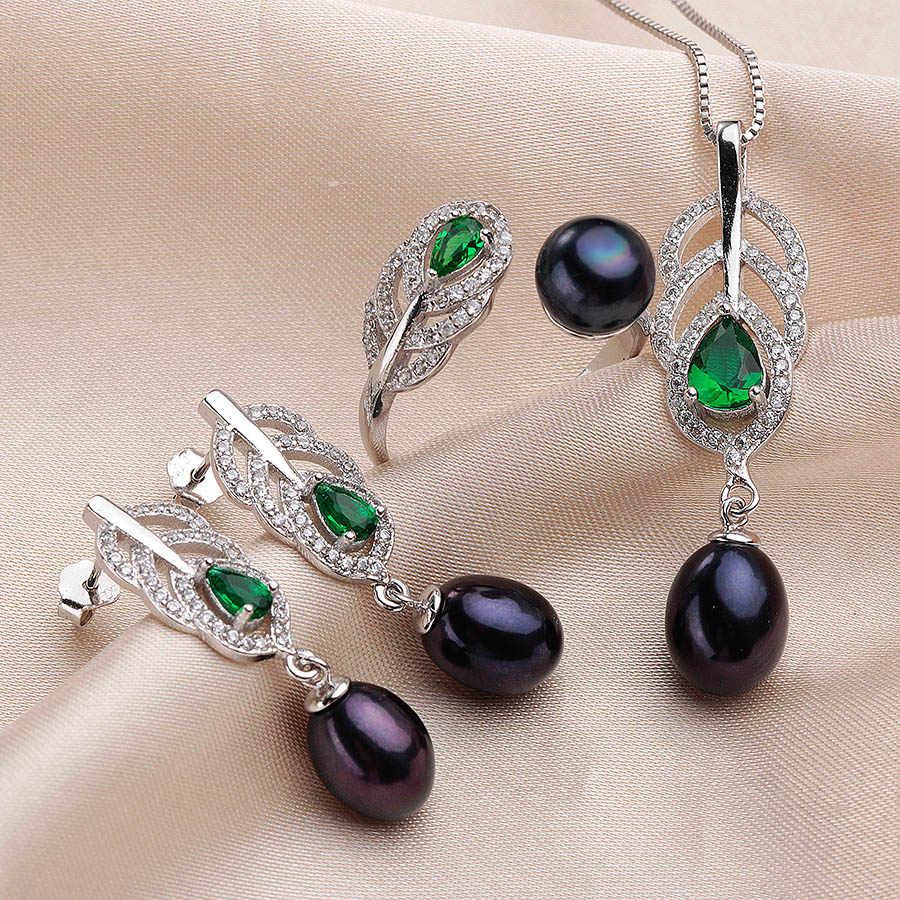 2019 ביותר אופנתי טבעי פרל סטים לנשים AAAA גבוהה באיכות כסף שרשרת עגילי טבעת קריסטל ירוק 4 צבעים LINDO