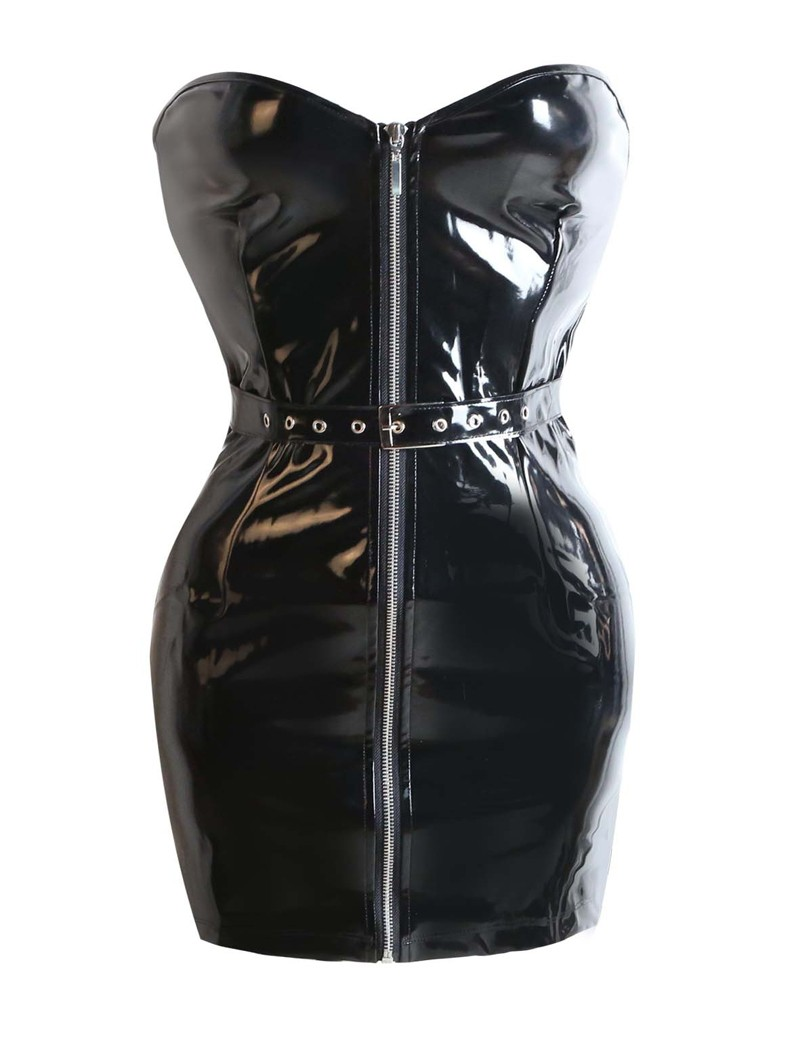 Hot Sexy Black PVC Leather Corset Dress Overbust Bodycon Bandage Mini Dress Gotic Punk Zipper Belted Front Women Night Clubwear