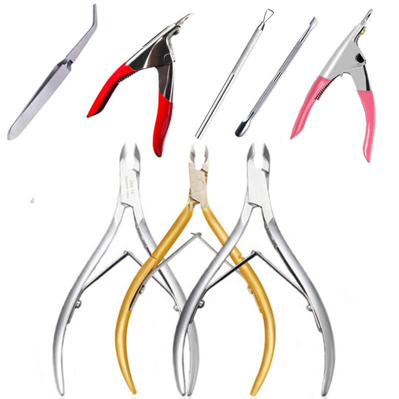 1PC Stainless Steel Nail Art Manicure Tools Kits Set Cuticle Spoon Pusher Nippers Trimmer Nail Clipper Cutter Makeup Nail Tool