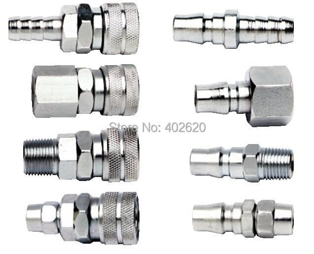 "10 Pieces Quick Coupler Set Air Line Hose Connector Fittings 1//4/"" Tools Plug"